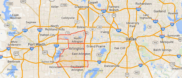 arlington texas area map